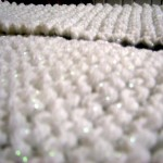 Close-up to show the light sparkle in the yarn.