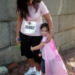 Race for the Cure, 2009. Shy angel wearing a cape that was given out.