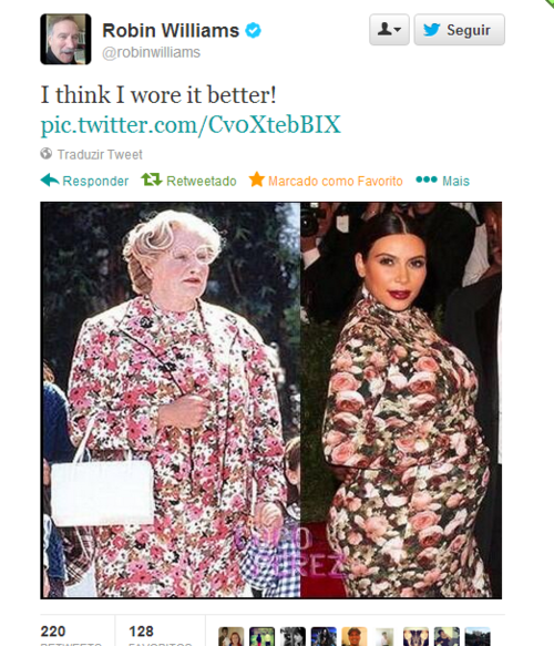 Unverified Tweet from Robin Williams that is circulating on Facebook.